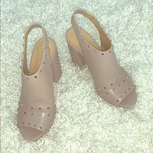 KHAKI leather Astor Studded Peep-toe Sling-back